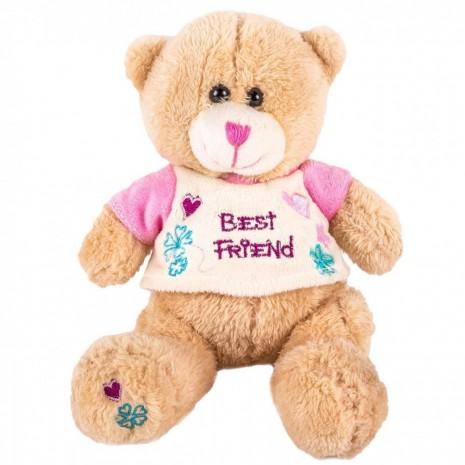 """Ursulet Crem Cu Tricou """"Best Friends"""" - 16cm"""
