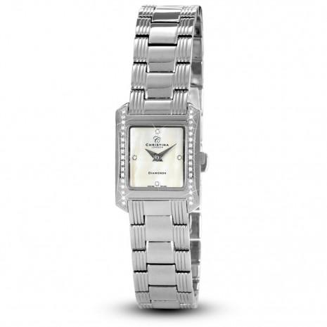Ceas de dama, Swiss Made, Argintiu, Bratara otel inoxidabil, 38 Diamante Christina Diamonds SRL