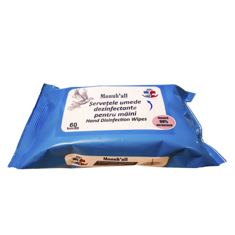 Servetele umede biocide avizate M. Sanatatii,  dezinfectante, antibacteriene pentru maini Monukall, 60 bucati