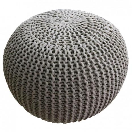 Taburet tricotat rotund Heinner Home, 45x35 cm, crem