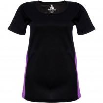 Tricou sport negru/violet Active Wear, la baza gatului, de dama Germag