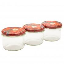 Set borcane sticla pentru dulceata Florentyna, cu capac, 3 bucati, 235 ml, Transparent Germag