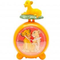 Ceas desteptator cu alarma Lion King, Disney, AA, 12 X 8 cm, setare manuala, portocaliu, pentru copii Germag