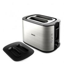 Prajitor de paine Philips HD2651/90, Carcasa metalica, 8 setari de temperatura, Functie de reincalzire, Oprire automata , Negru/Gri