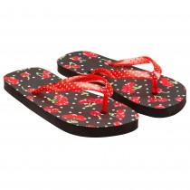 Papuci cu buline si imprimeu cirese, Negru/Rosu, pentru fete, 91180BLK28 Germag