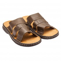 Papuci barbatesti din piele ecologica, Maro, 13572BR41 Germag