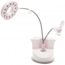 Lampa USB cu ventilator si LED-uri Prima Klima, suport pentru pixuri, 3 baterii AA 1.5V incluse, alba Germag