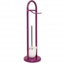 Suport hartie igienica si perie WC Sanwood, 63 cm,  ⌀19 cm, metal, Violet, 14565PU Germag