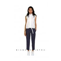Pantalon conic Bianca Hristea cu dungi albe L