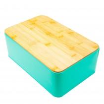 Cutie metalica pentru paine Excellent Houseware, 32,5x20,5x12 cm, Turcoaz Germag