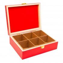Cutie pentru ceai Renberg, 6 compartimente, cu capac, din lemn, 25x19x8 cm, Rosu Germag