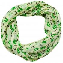 Esarfa dama Accires, circulara, verde deschis, cu imprimeuri, vascoza, 4359LM/GR Germag