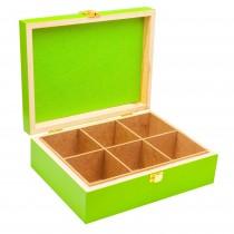 Cutie pentru ceai Renberg, 6 compartimente, cu capac, din lemn, 25x19x8 cm, Verde Germag