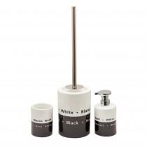 Set perie WC+suport ceramic+ suport periute dinti+dispenser sapun Sanwood, Alb/Negru Germag