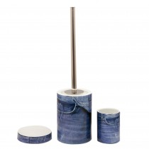 Set perie WC+suport ceramic+suport periute dinti+savoniera Sanwood, Alb/Albastru Germag