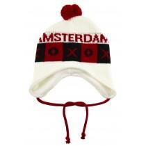 Caciula tricotata Amsterdam, Alb / Rosu Germag