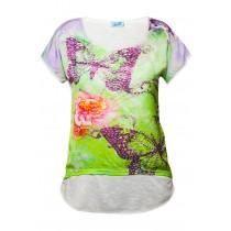 Tricou dama By Swan, imprimat floral, cu strasuri, Verde/Alb Germag