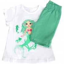 Tricou si pantaloni Mica Sirena Disney, alb si verde, pentru fetite Germag