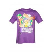 Tricou mov din bumbac Phineas & Ferb, pentru baieti Germag