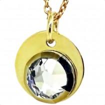 Colier Argint 925 placat cu Aur Pandantiv Swarovski Auriu CPG-GO-F70-001DO 1