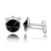 Butoni ARGINT 925 cu SWAROVSKI Crystals Rivoli Black 12MM (Butoni Criando Bijoux) + CADOU Laveta curatat bijuteriile din argint Criando Bijoux