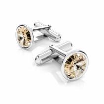 Butoni argint cu Swarovski Crystals Rivoli Light Silk 12mm (Butoni Criando Bijoux) + CADOU Laveta curatat bijuteriile din argint Criando Bijoux