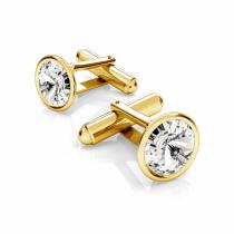 Butoni argint suflati cu aur 24k si Swarovski Crystal Clear 12mm (Butoni Criando Bijoux) + CADOU Laveta curatat bijuteriile din argint Criando Bijoux