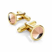 Butoni argint suflati cu aur 24k si Swarovski Rose Gold 12mm (Butoni Criando Bijoux) + CADOU Laveta curatat bijuteriile din argint Criando Bijoux