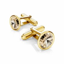Butoni argint suflati cu aur 24k si Swarovski Light Silk 12mm (Butoni Criando Bijoux) + CADOU Laveta curatat bijuteriile din argint Criando Bijoux