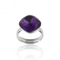 Inel argint, Inel Swarovski Cushion Cut Purple Velvet 12mm (Inel Criando Bijoux) + CADOU Laveta curatat bijuteriile din argint Criando Bijoux