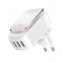 Multi Incarcator 3 porturi USB cu Lampa LED Incorporata si Cablu Micro USB Inclus