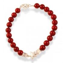 Bratara hand made din perle sidef rosii, quartz si argint BRH14 TRENDWORLD