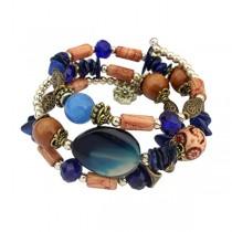 Bratara din margele in nuante de albastru si maro si insertii metalice aurii TRENDWORLD