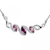 Pandantiv argintiu serpuit cu cristale australiene roz si mov si strasuri albe TRENDWORLD