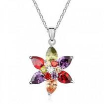 Pandantiv argintiu in forma de floare-stea cu cristale australiene si strasuri TRENDWORLD