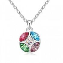 Pandantiv argintiu in forma de cerc cu cristale australiene roz, bleu, mov si verde TRENDWORLD
