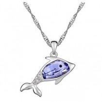 Pandativ argintiu in forma de delfin cu cristal australian albastru TRENDWORLD