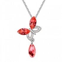 Pandantiv argintiu fluture cu cristale australiene rosii si strasuri albe TRENDWORLD