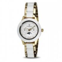 Ceas de dama, Swiss Made, Moon, Auriu-alb, Bratara ceramica, 1 Diamant, 11 Safire Christina Diamonds SRL