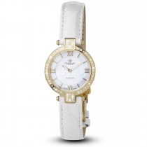 Ceas de dama, Swiss Made, Auriu, Curea de piele alba, 66 Diamante Christina Diamonds SRL