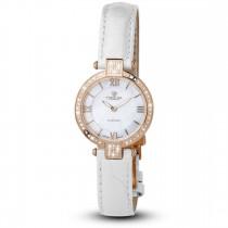 Ceas de dama, Swiss Made, Roze, Curea de piele alba, 66 Diamante Christina Diamonds SRL
