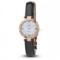 Ceas de dama, Swiss Made, Roze, Curea de piele, 66 Diamante Christina Diamonds SRL