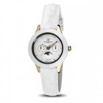 Ceas de dama, Swiss Made, Moon, Auriu-alb, Curea de piele, 1 Diamant, 11 Safire Christina Diamonds SRL