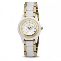 Ceas de dama, Swiss Made, Auriu-alb, Bratara ceramica, 1 Diamant Christina Diamonds SRL