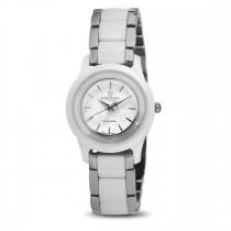 Ceas de dama, Swiss Made, Argintiu-alb, Bratara ceramica, 1 Diamant Christina Diamonds SRL