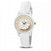 Ceas de dama, Swiss Made, Auriu-alb, Curea de piele, 1 Diamant Christina Diamonds SRL