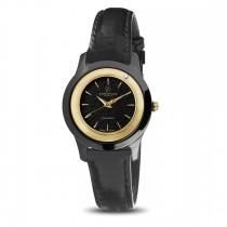 Ceas de dama, Swiss Made, Auriu-negru, Curea de piele, 1 Diamant Christina Diamonds SRL
