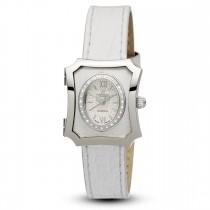 Ceas de dama, Swiss Made, Argintiu, Curea de piele, 28 Diamante Christina Diamonds SRL
