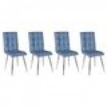 Set 4 scaune Kare denim tapitate piele ecologica culoare denim