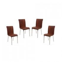 Set 4 scaune Pedli piele ecologica imitatie lemn